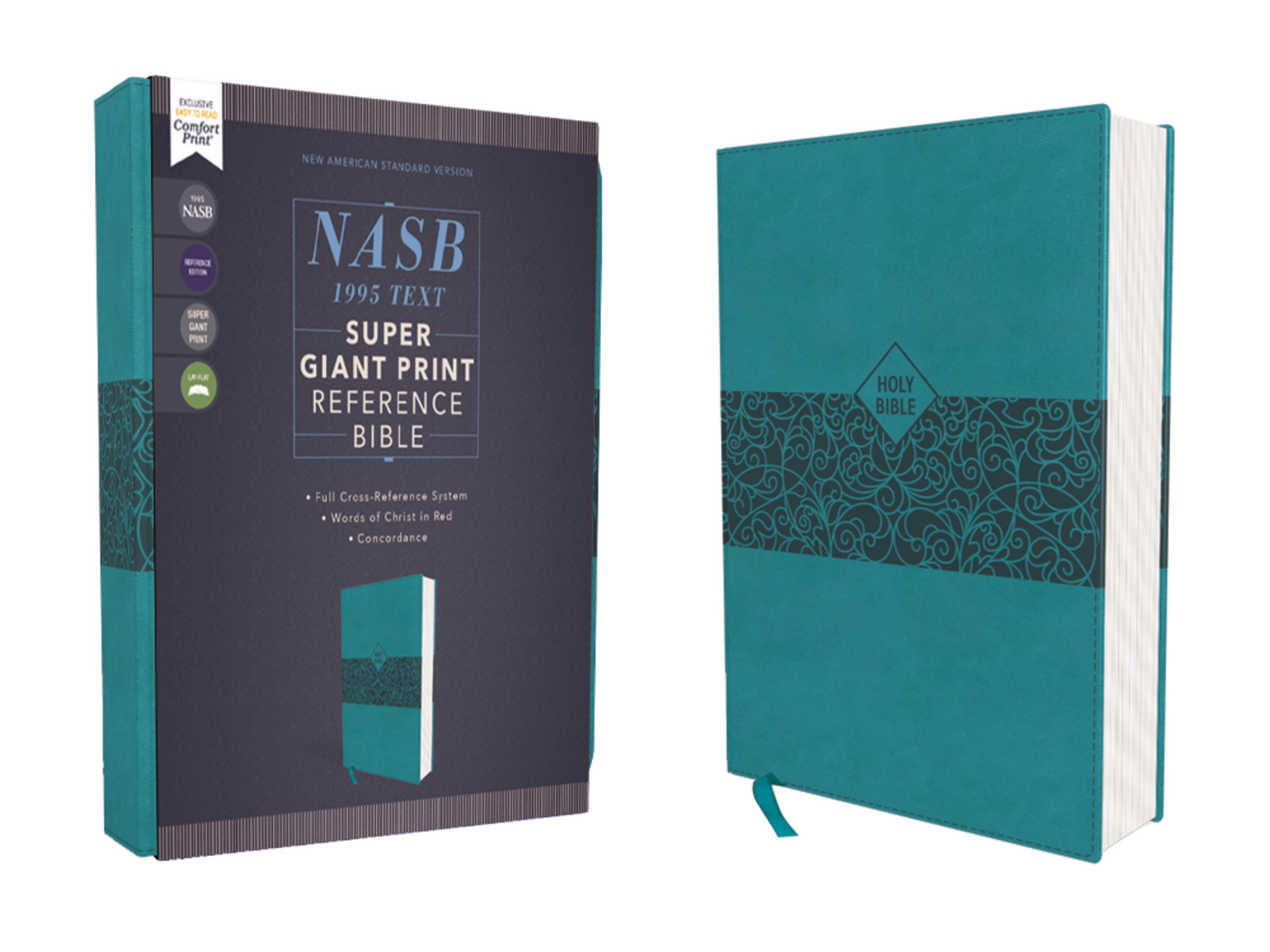 NASB Super Giant Print Reference Bible (Comfort Print)-Teal Leathersoft