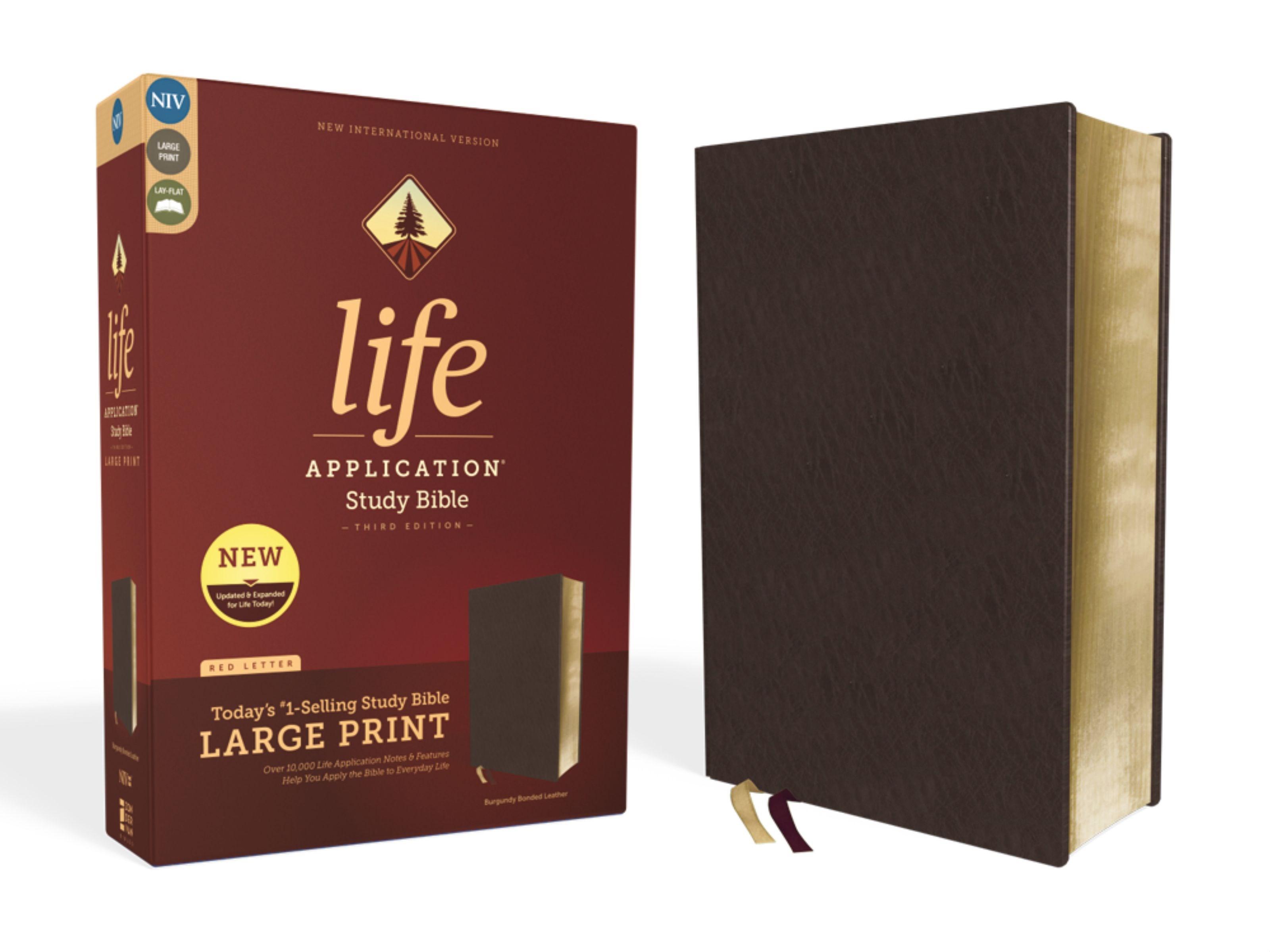 NIV Life Application Study Bible/Large Print (Third Edition)-Burgundy Bonded Leather