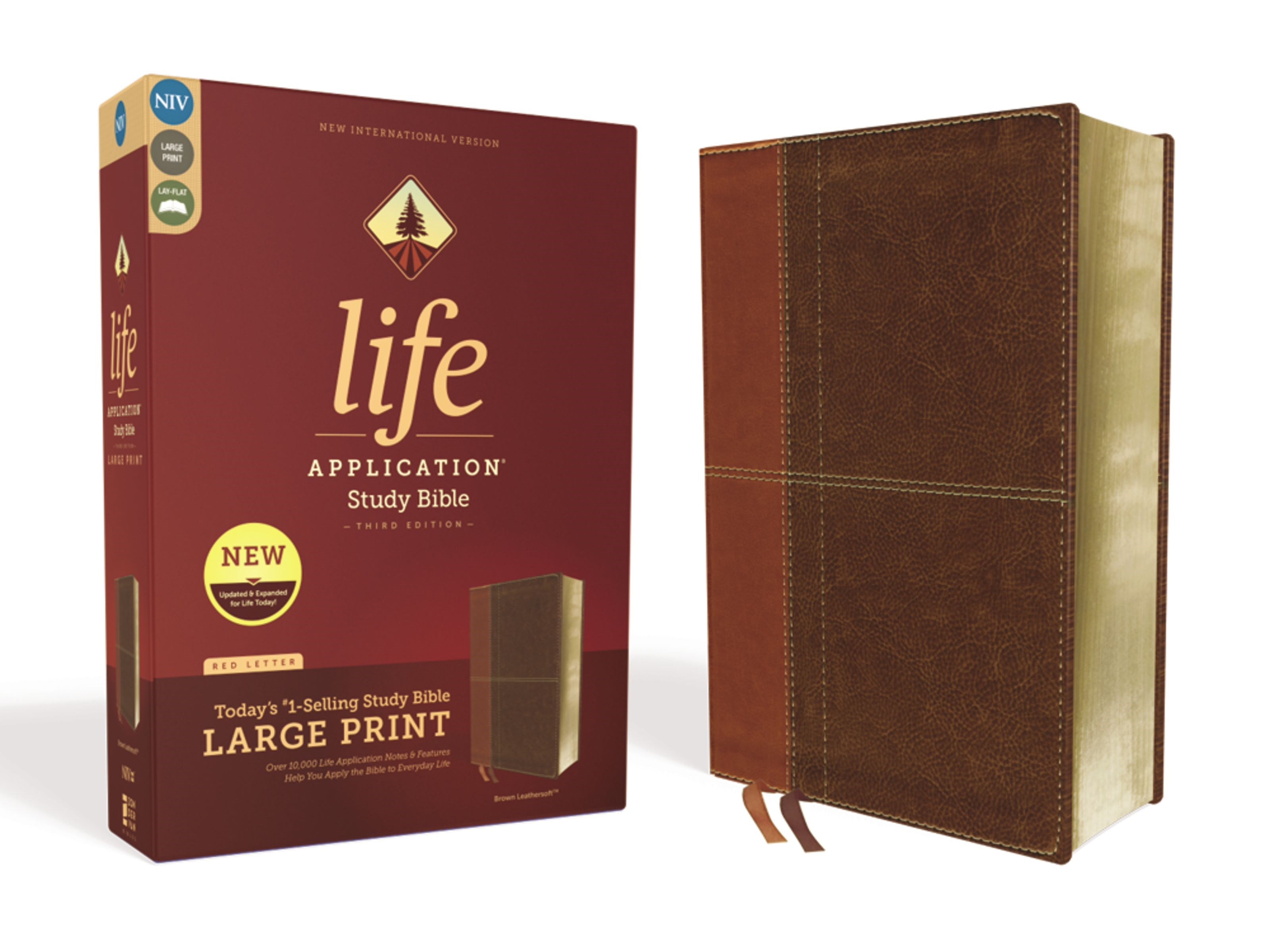NIV Life Application Study Bible/Large Print (Third Edition)-Brown Leathersoft