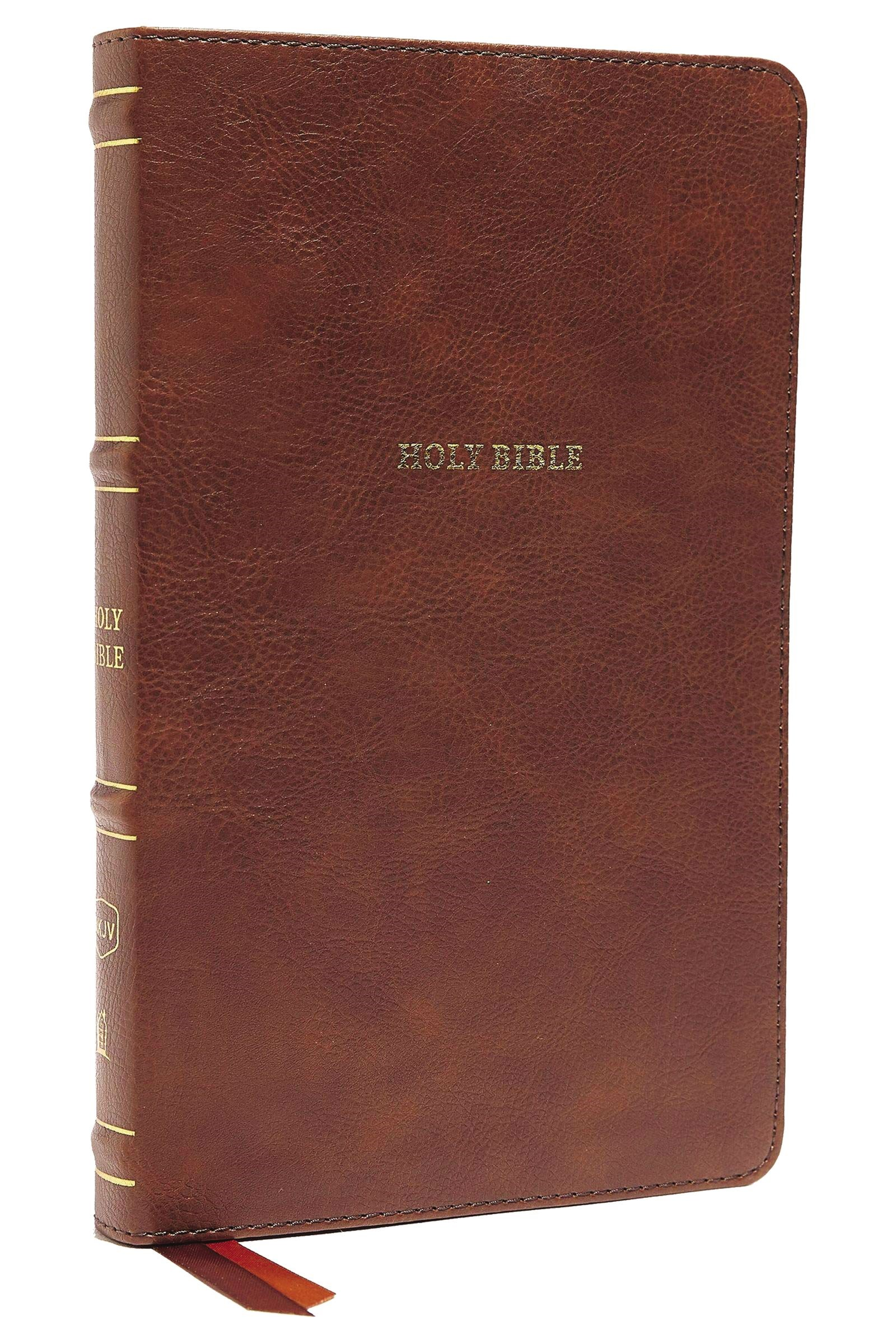 NKJV Thinline Bible (Comfort Print)-Brown LeatherSoft Indexed