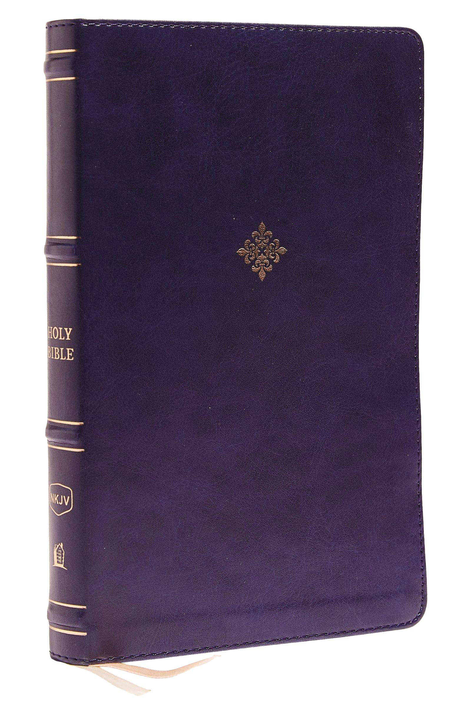 NKJV Thinline Bible (Comfort Print)-Navy Blue LeatherSoft Indexed