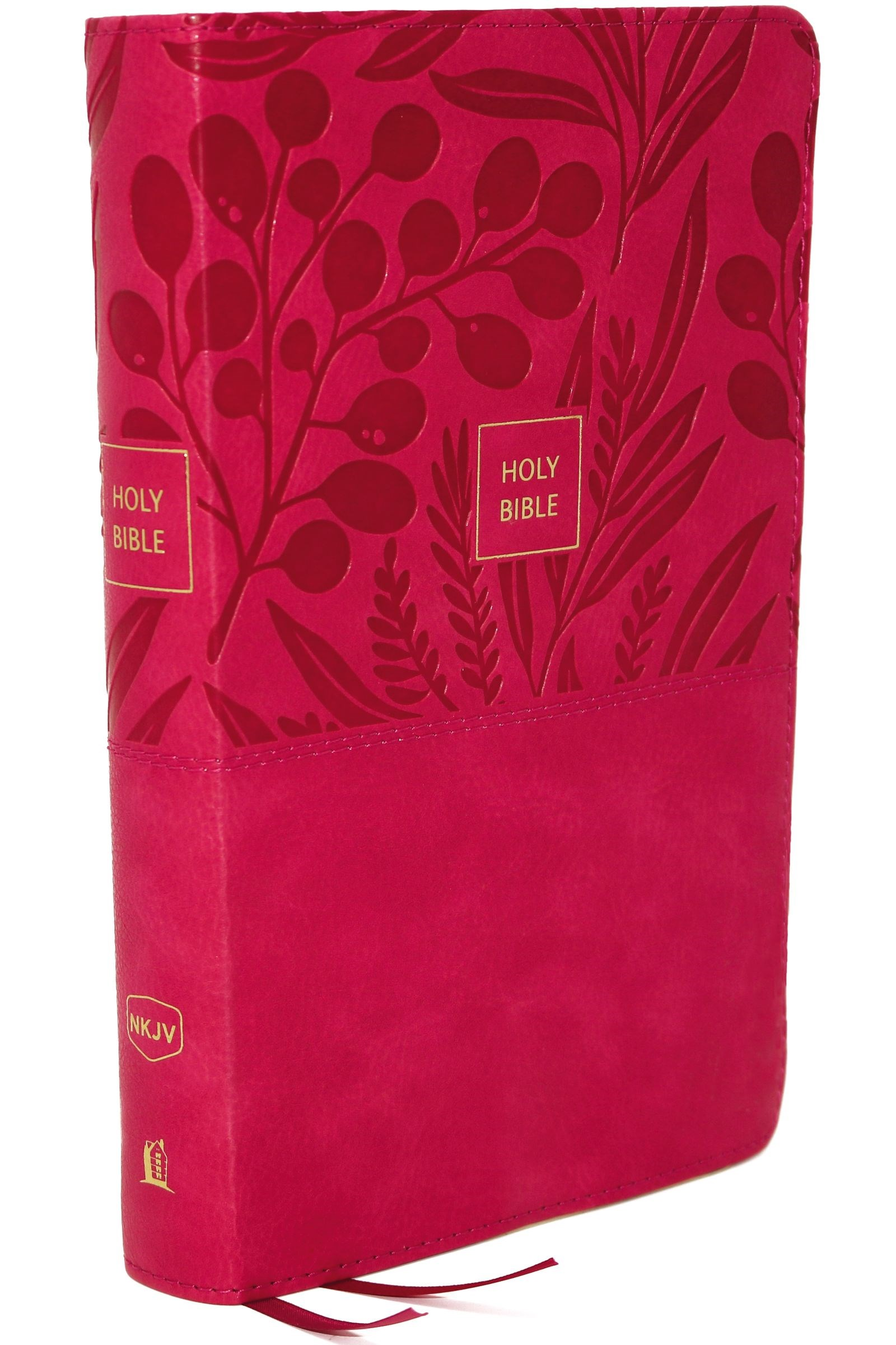 NKJV Compact Large Print Reference Bible (Comfort Print)-Pink Leathersoft