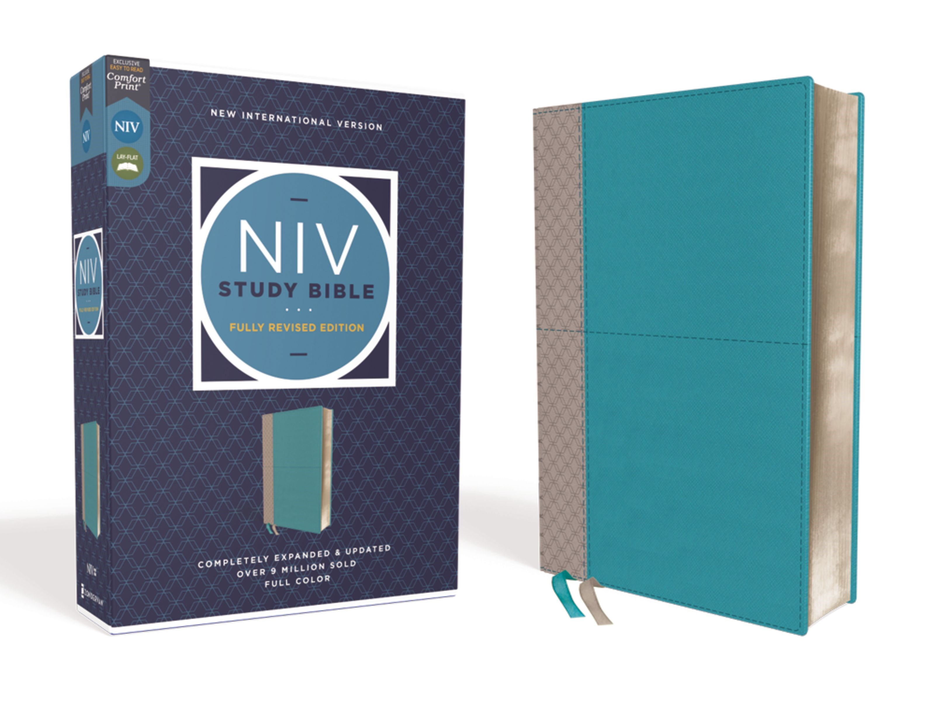 NIV Study Bible (Fully Revised Edition) (Comfort Print)-Teal/Gray Leathersoft