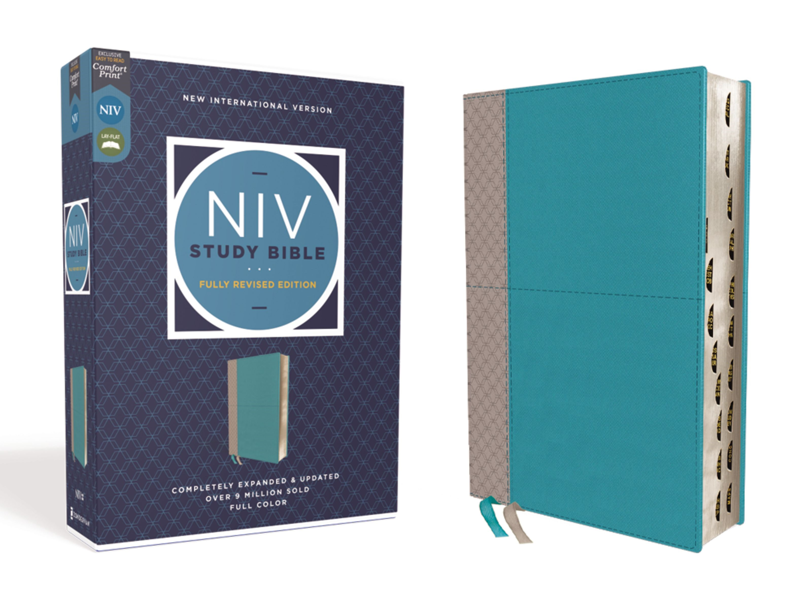 NIV Study Bible (Fully Revised Edition) (Comfort Print)-Teal/Gray Leathersoft Indexed