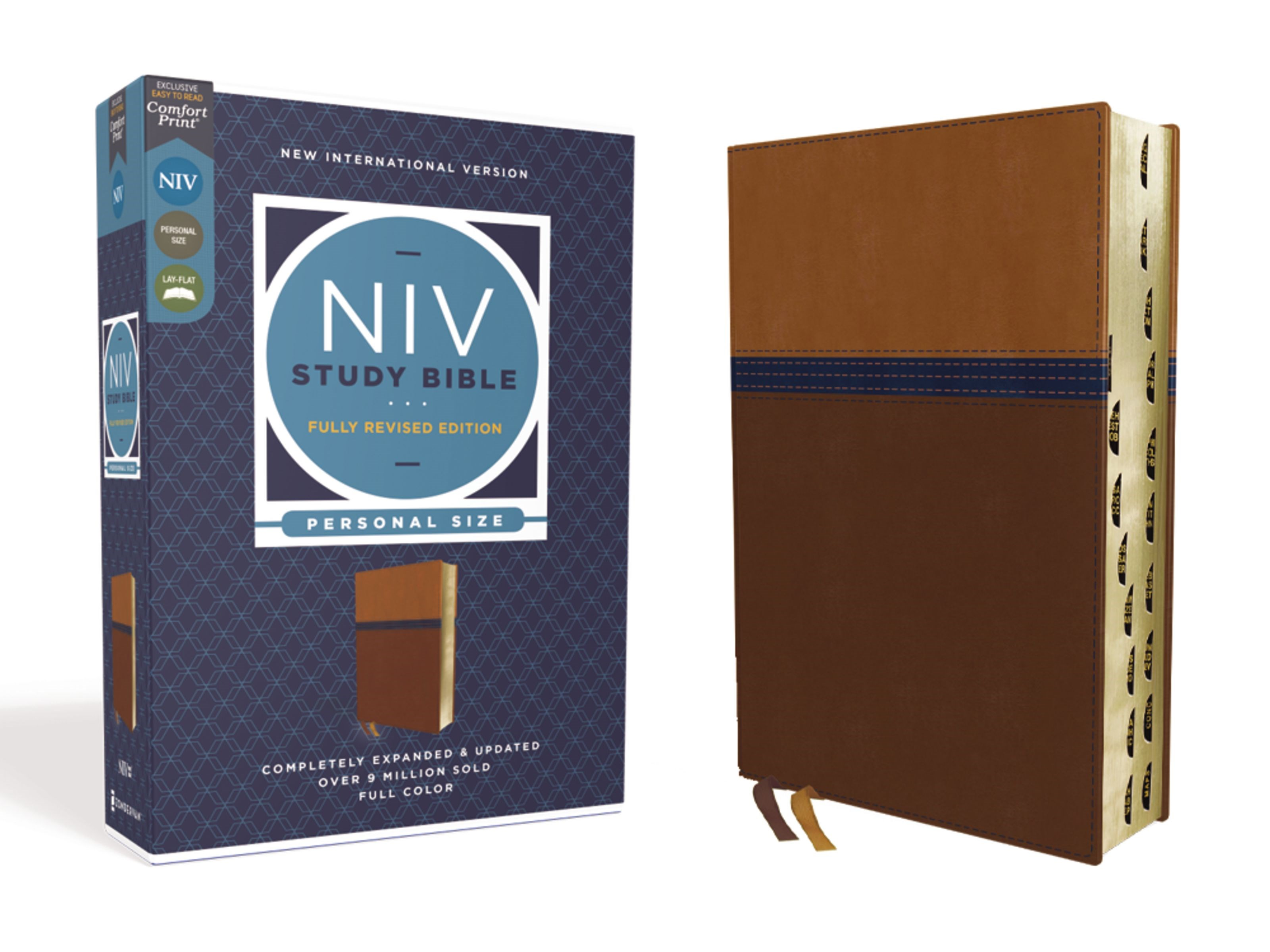 NIV Study Bible/Personal Size (Fully Revised Edition) (Comfort Print)-Brown/Blue Leathersoft Indexed