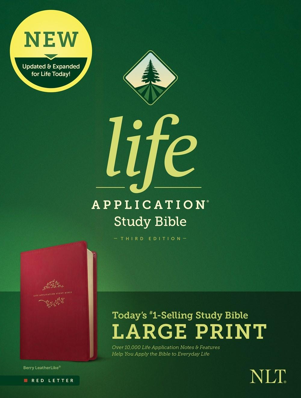 NLT Life Application Study Bible/Large Print (Third Edition) (RL)-Berry LeatherLike