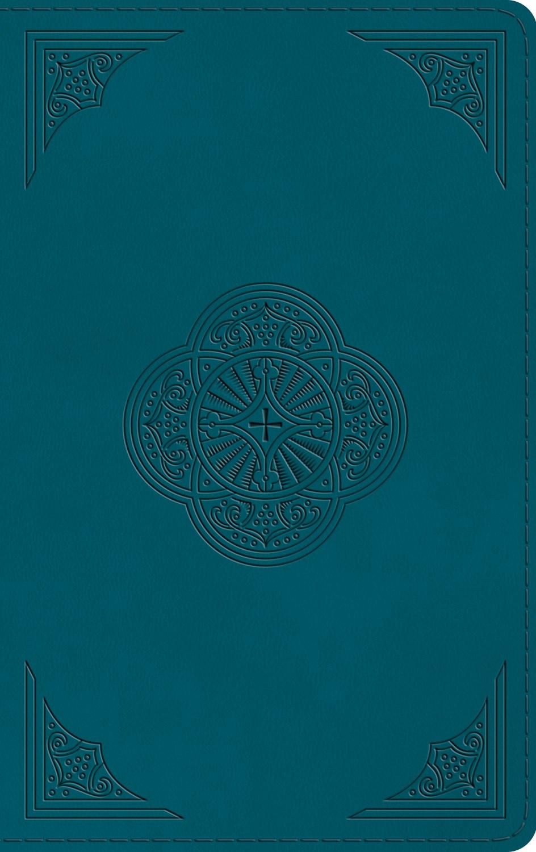 ESV Thinline Bible-Deep Teal  Rotunda Design TruTone