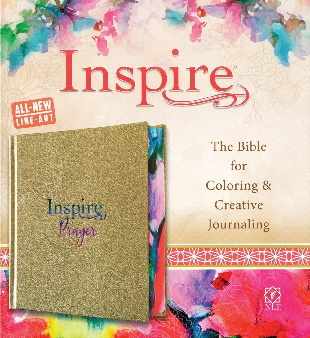 NLT Inspire Prayer Bible-Metallic Champagne Gold LeatherLike