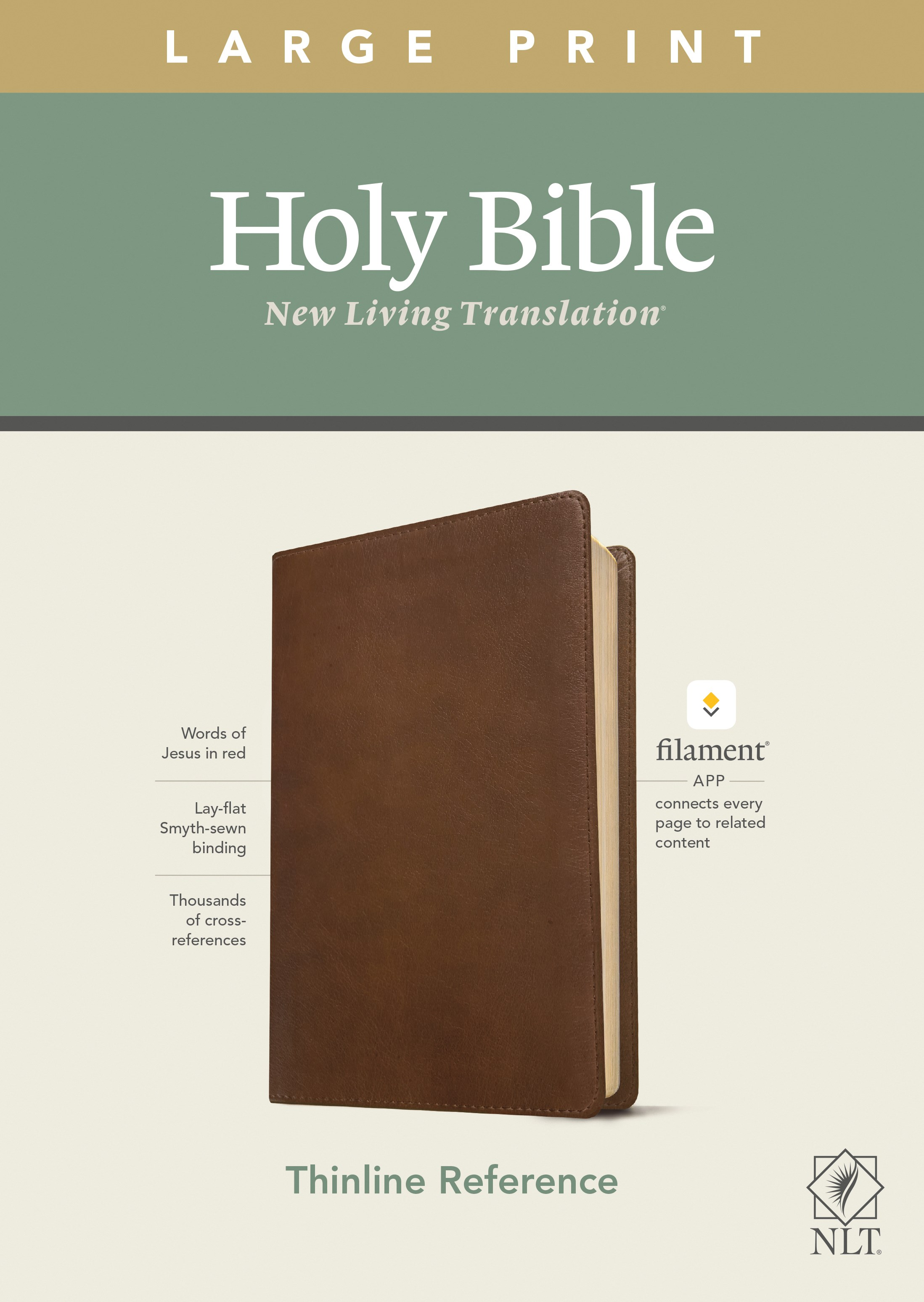 NLT Large Print Thinline Reference Bible/Filament Enabled Edition-Rustic Brown LeatherLike
