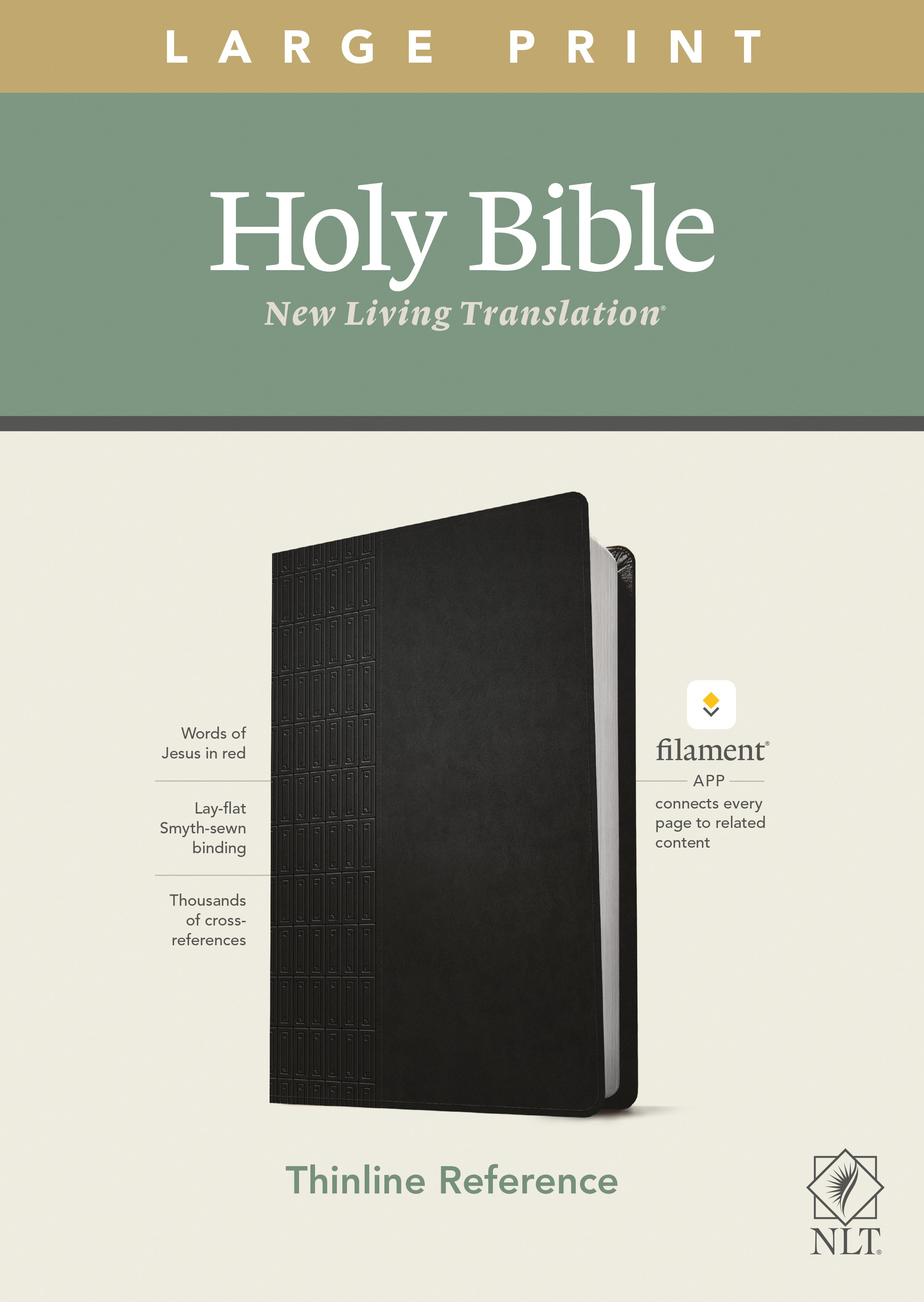 NLT Large Print Thinline Reference Bible/Filament Enabled Edition-Black LeatherLike