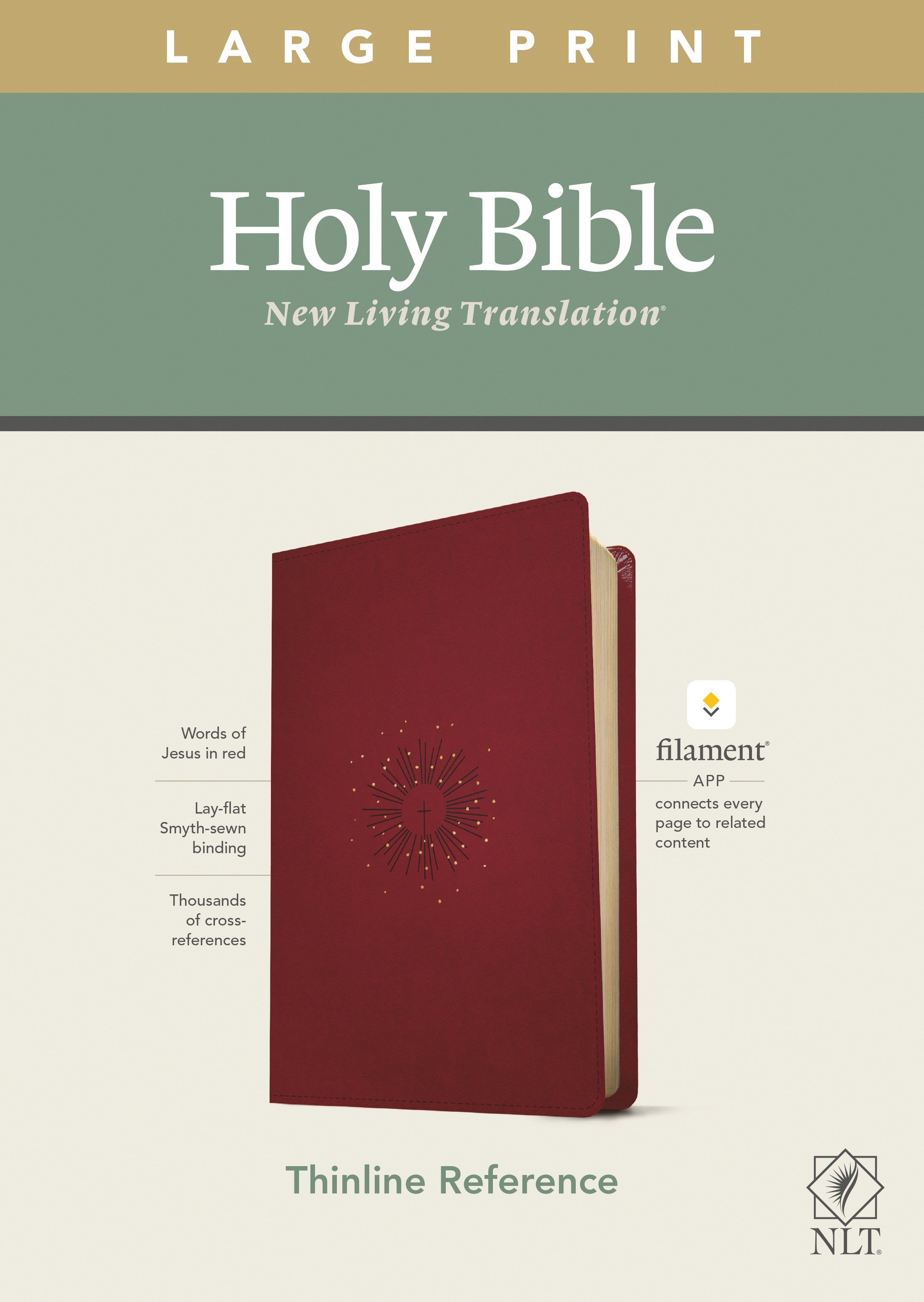NLT Large Print Thinline Reference Bible/Filament Enabled Edition-Berry LeatherLike