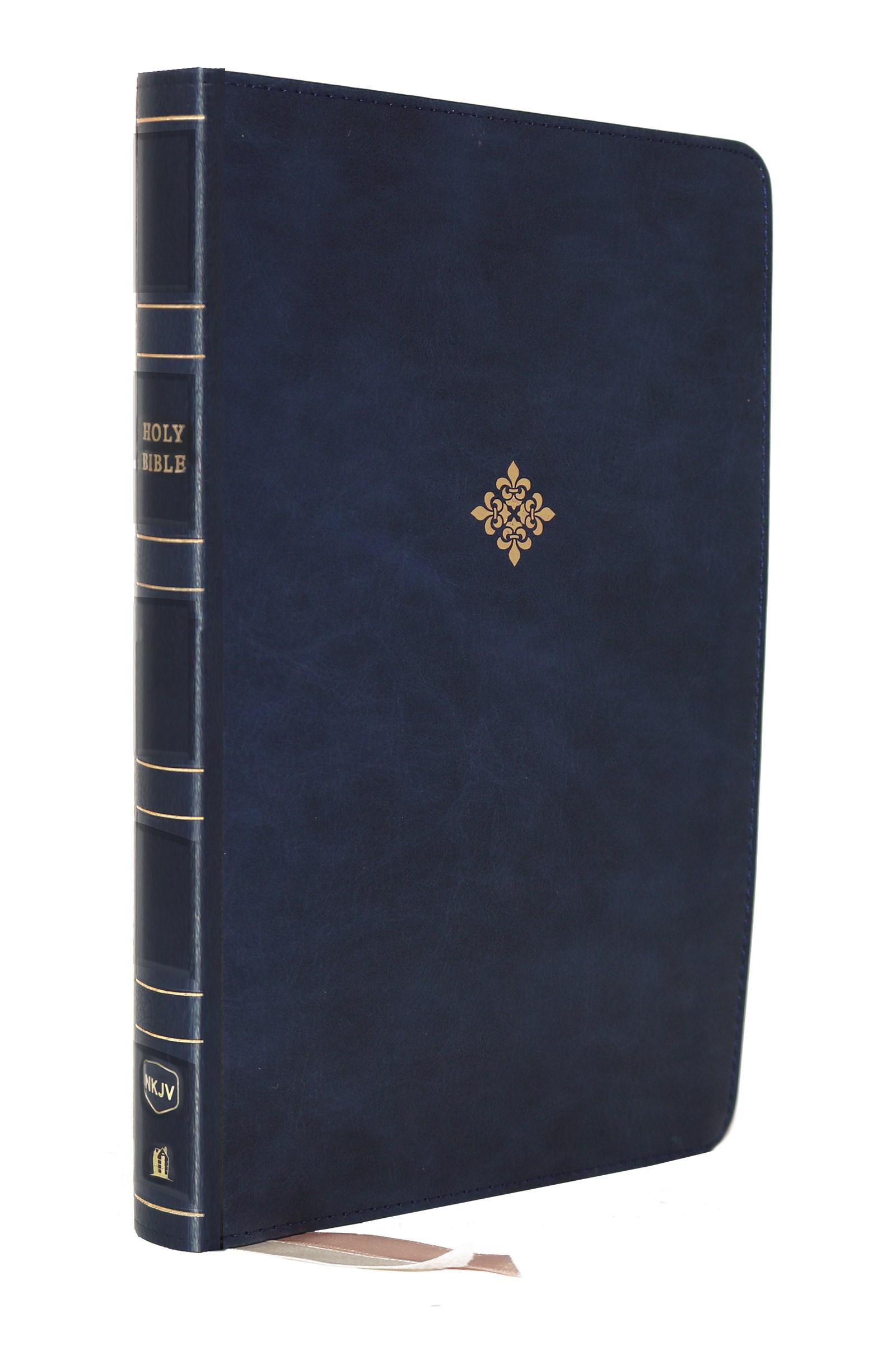 NKJV Large Print Thinline Reference Bible (Comfort Print)-Blue Leathersoft