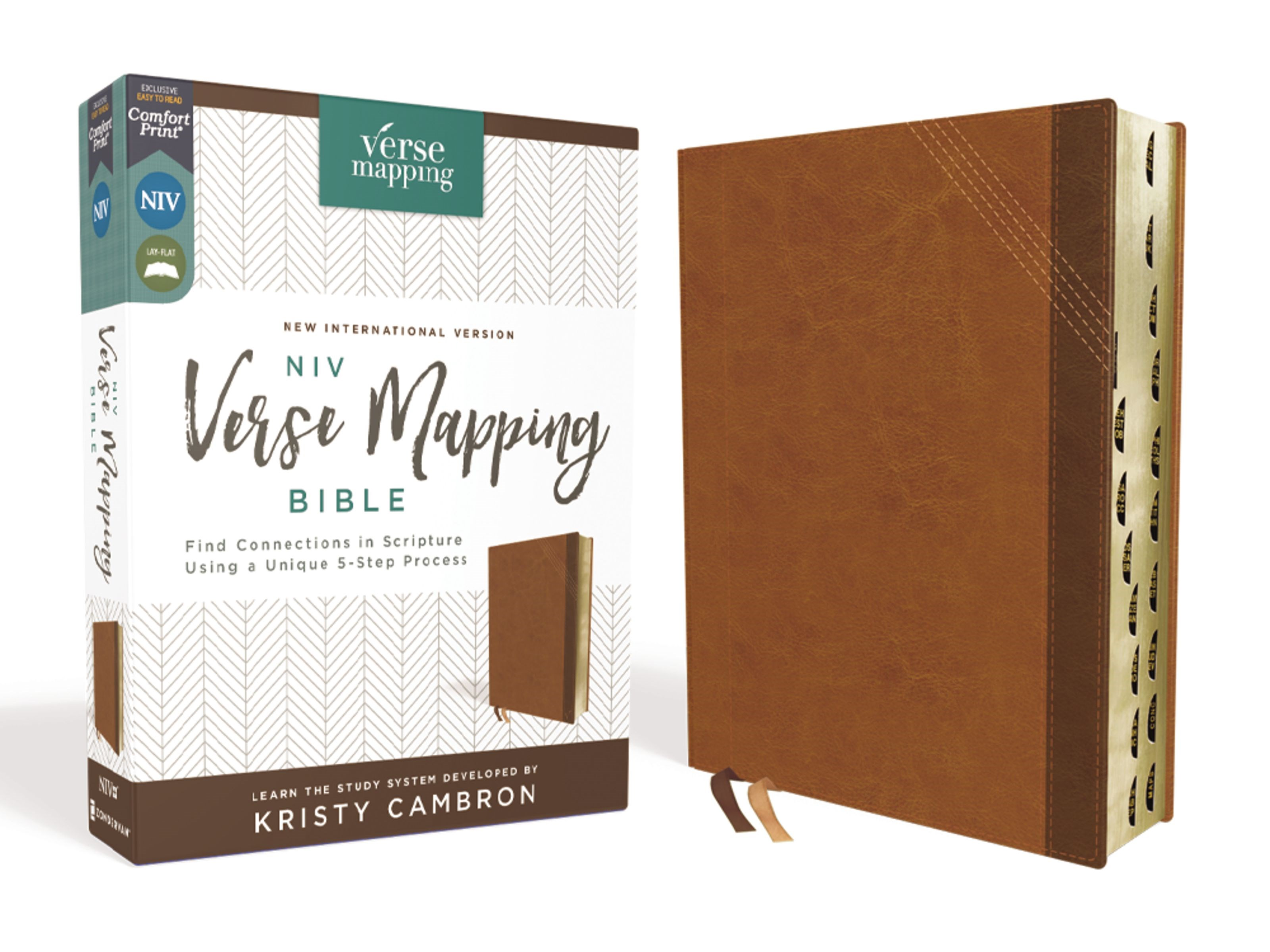 NIV Verse Mapping Bible (Comfort Print)-Brown Leathersoft Indexed