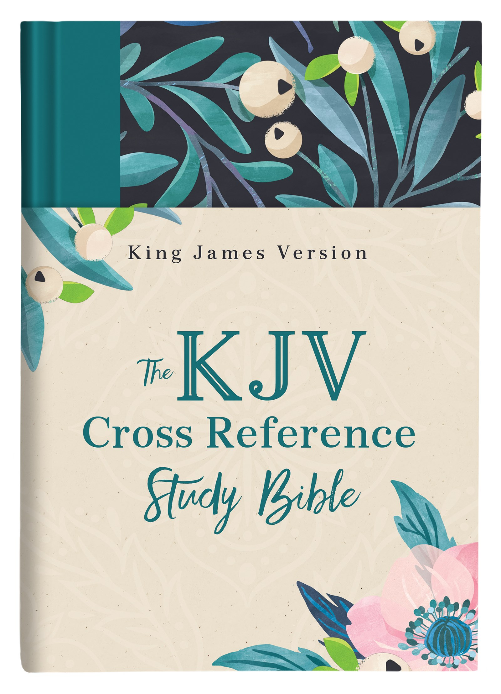 KJV Cross Reference Study Bible-Turquoise Floral Hardcover