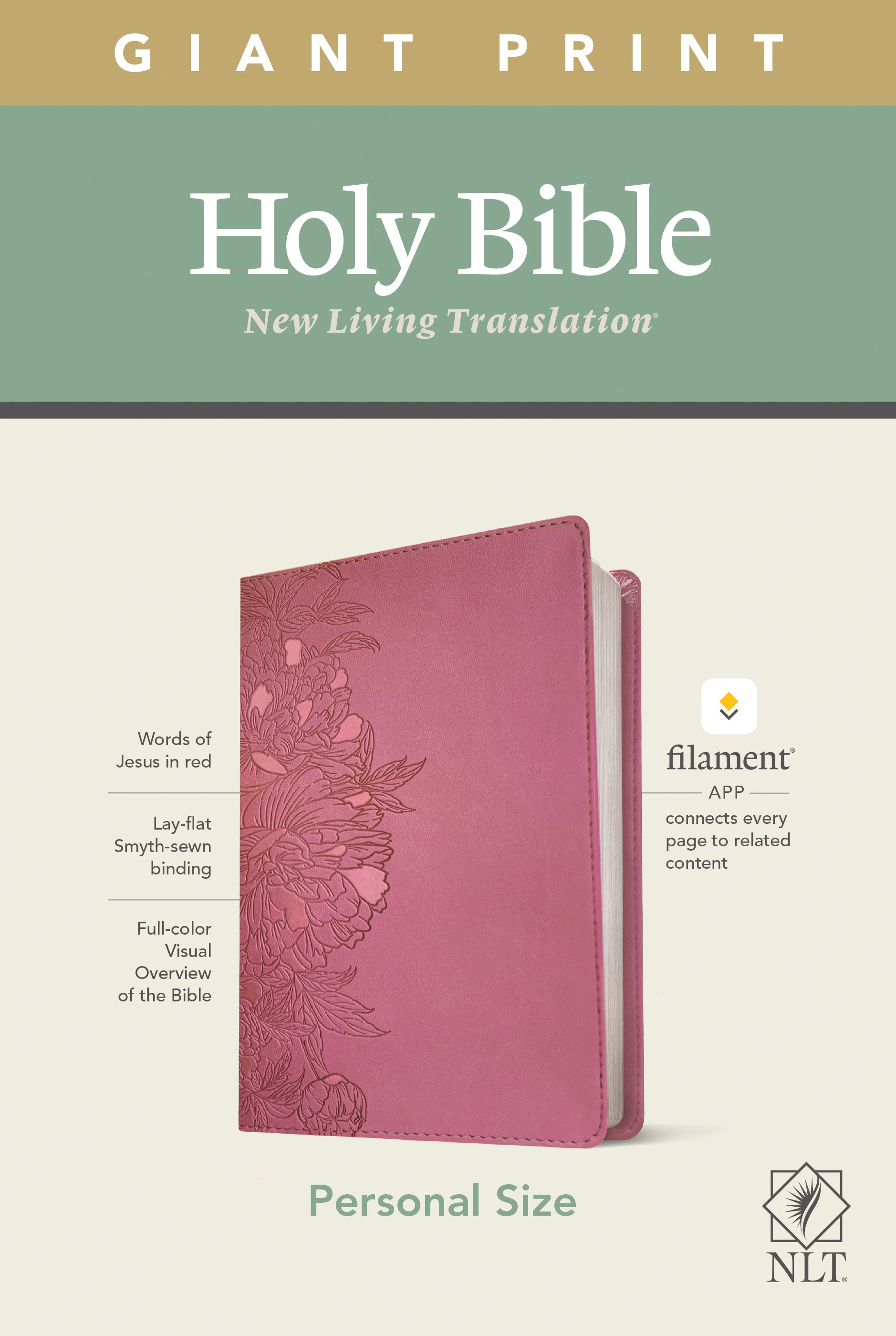 NLT Personal Size Giant Print Bible/Filament Enabled-Peony Pink LeatherLike