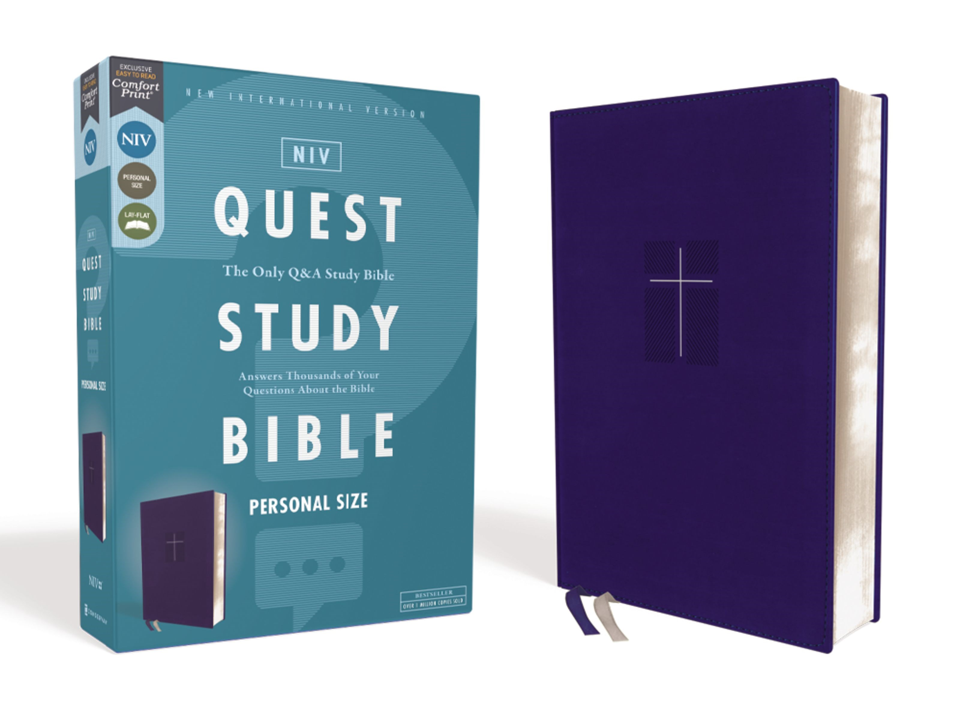 NIV Quest Study Bible/Personal Size (Comfort Print)-Blue Leathersoft