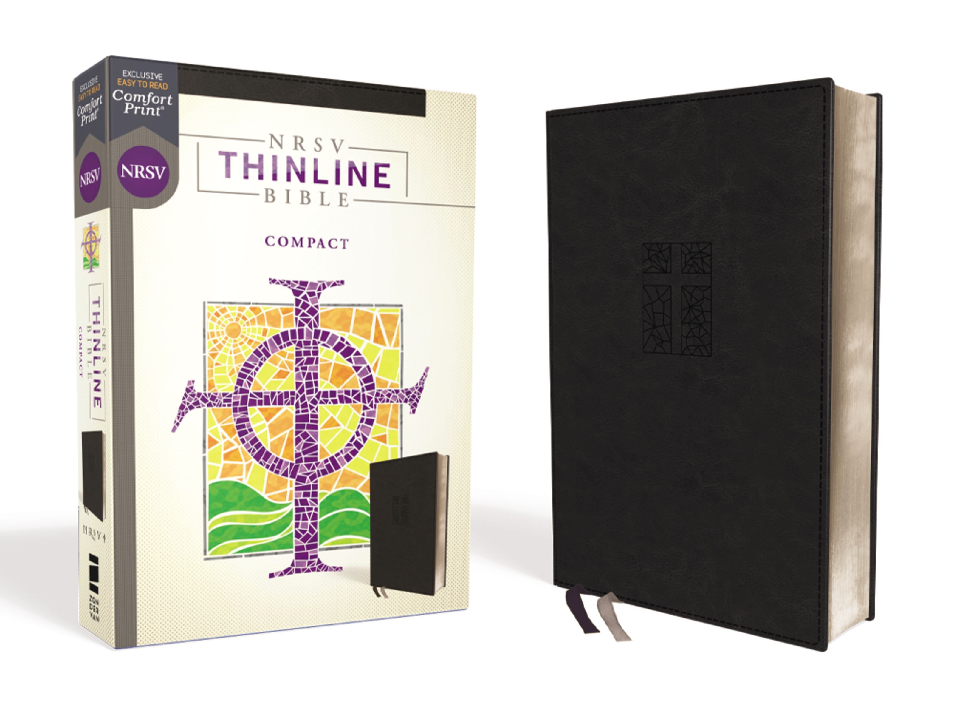 NRSV Thinline Bible/Compact (Comfort Print)-Black Leathersoft