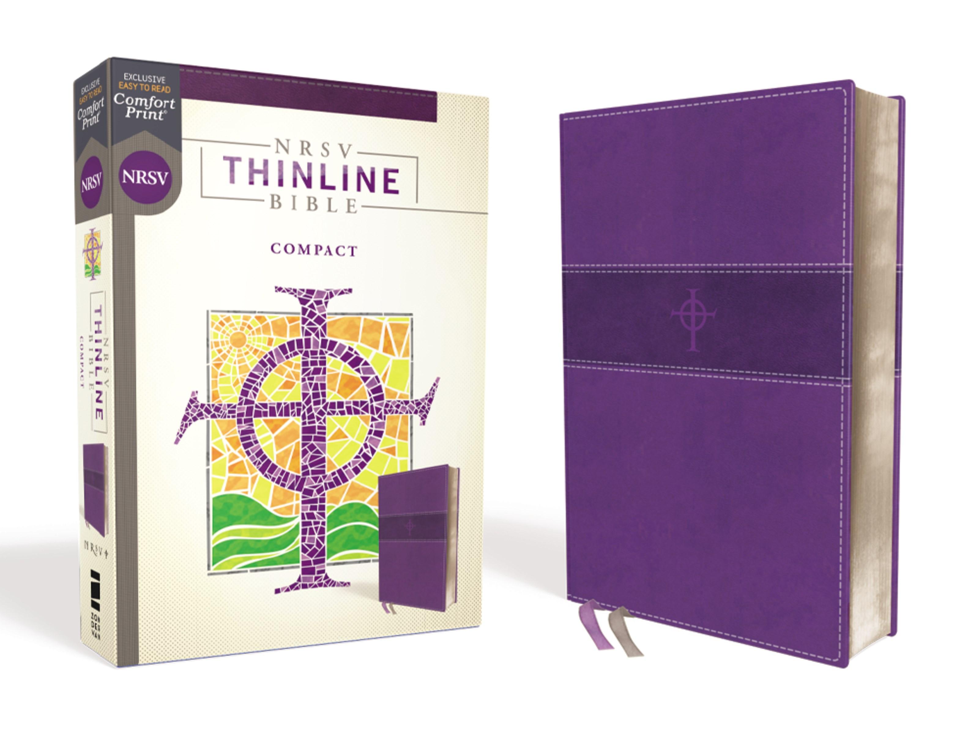 NRSV Thinline Bible/Compact (Comfort Print)-Purple Leathersoft