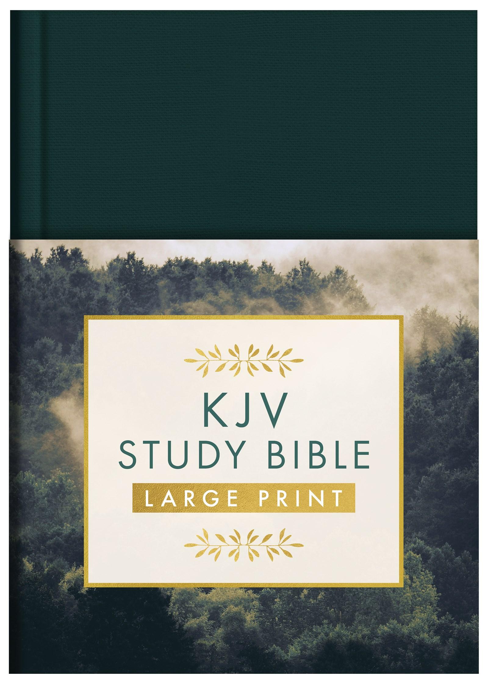 KJV Study Bible/Large Print-Gold Spruce Hardcover