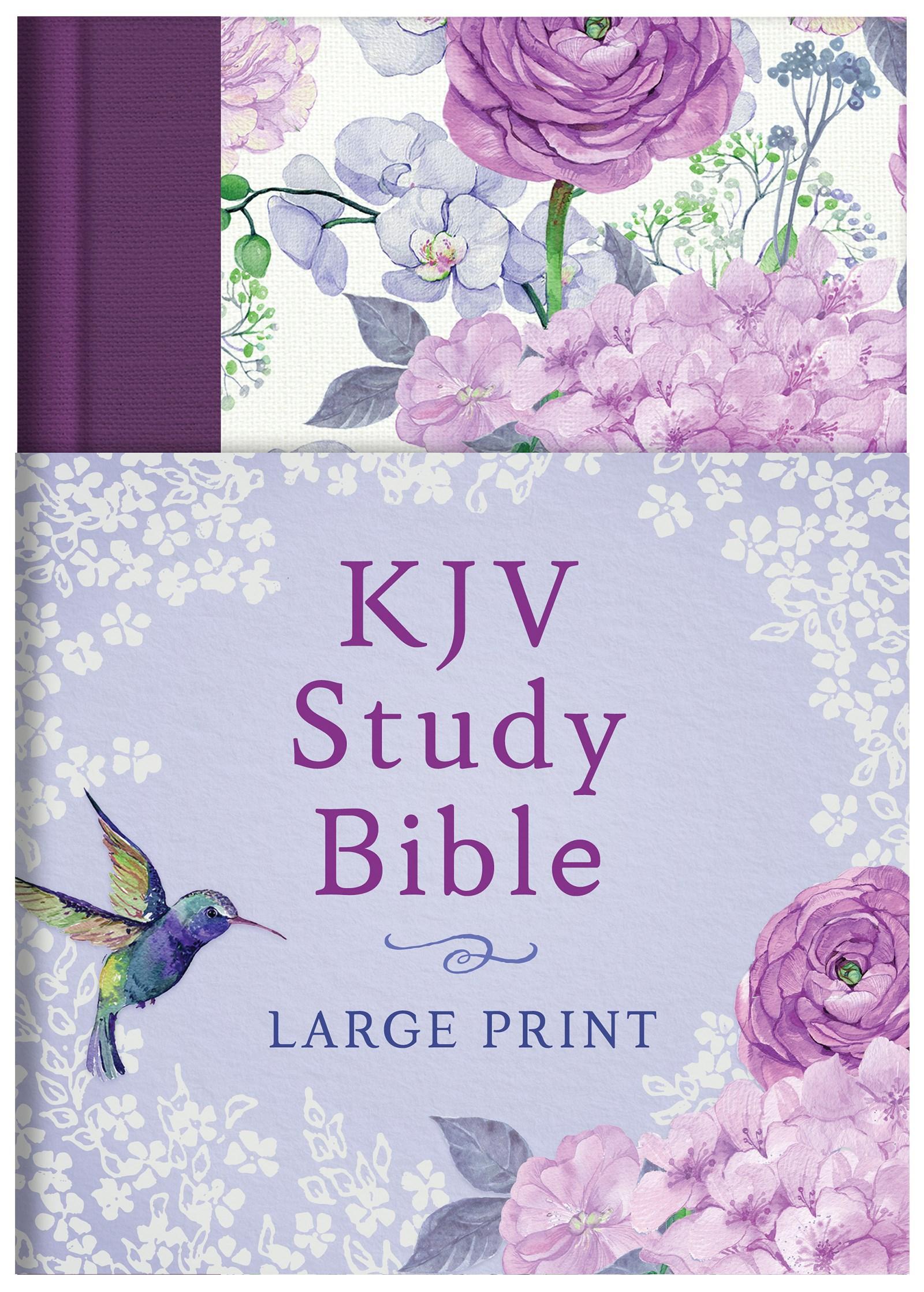 KJV Study Bible/Large Print-Hummingbird Lilacs Hardcover