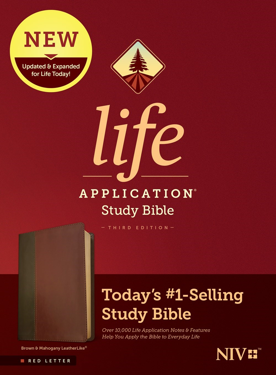 NIV Life Application Study Bible (Third Edition)-RL-Brown/Mahogany LeatherLike