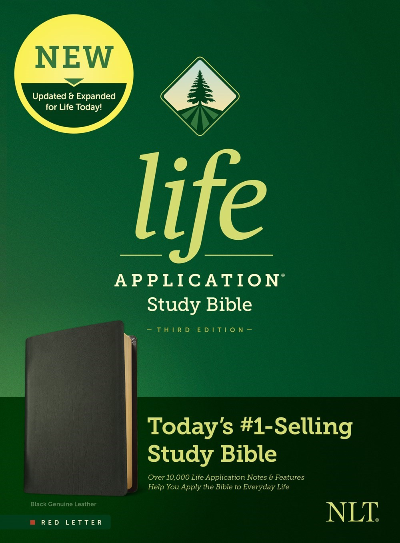 NLT Life Application Study Bible (Third Edition)-RL-Black Genuine Leather